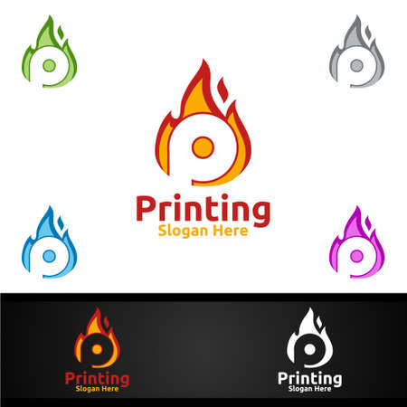 Hot Printing Company Vector Logo Design for Media, Retail, Advertising, Newspaper or Book Concept
