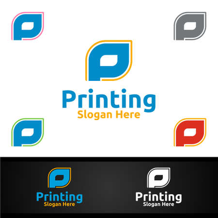 Letter P Printing Company Vector Logo Design for Media, Retail, Advertising, Newspaper or Book Concept Ilustracja