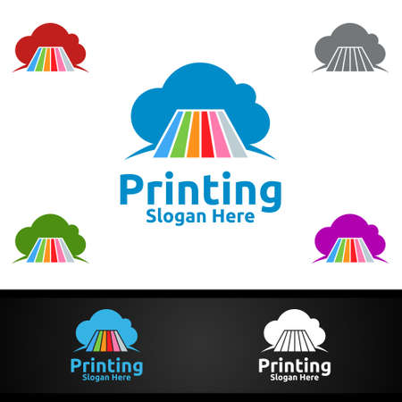 Cloud Printing Company Vector Logo Design for Media, Retail, Advertising, Newspaper or Book Concept