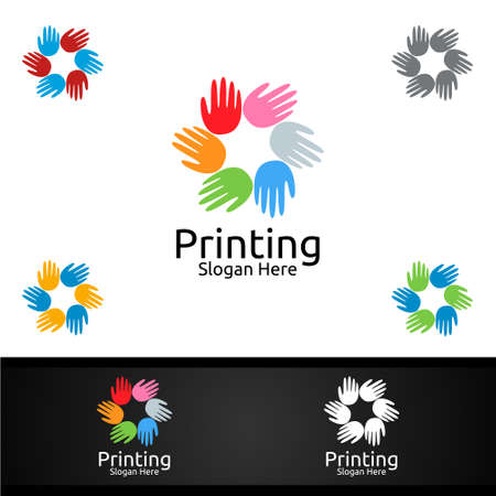 Hand Printing Company Vector Logo Design for Media, Retail, Advertising, Newspaper or Book Concept
