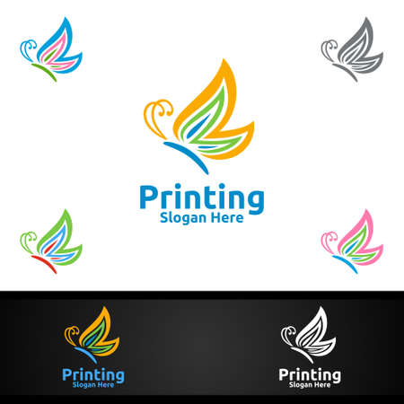 Butterfly Printing Company Vector Logo Design for Media, Retail, Advertising, Newspaper or Book Concept