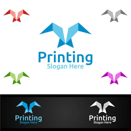 Fly Printing Company Vector Logo Design for Media, Retail, Advertising, Newspaper or Book Concept