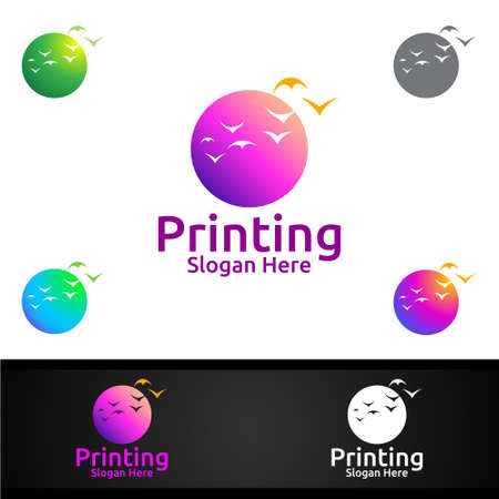 Beauty Printing Company Vector Logo Design for Media, Retail, Advertising, Newspaper or Book Concept Ilustracja