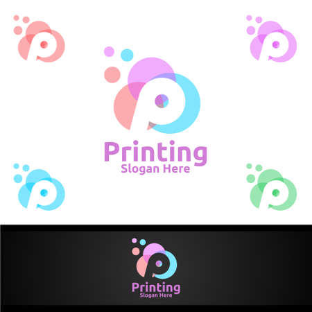 Bubble Printing Company Vector Logo Design for Media, Retail, Advertising, Newspaper or Book Concept