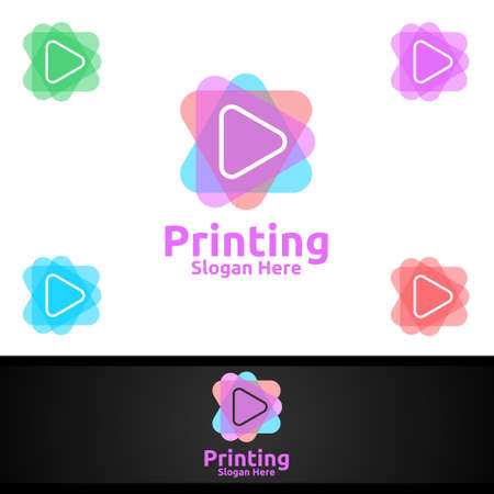 Play Printing Company Vector Logo Design for Media, Retail, Advertising, Newspaper or Book Concept