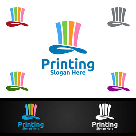 Magic Printing Company Vector Logo Design for Media, Retail, Advertising, Newspaper or Book Concept