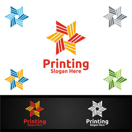 Star Printing Company Vector Logo Design for Media, Retail, Advertising, Newspaper or Book Concept Ilustracja