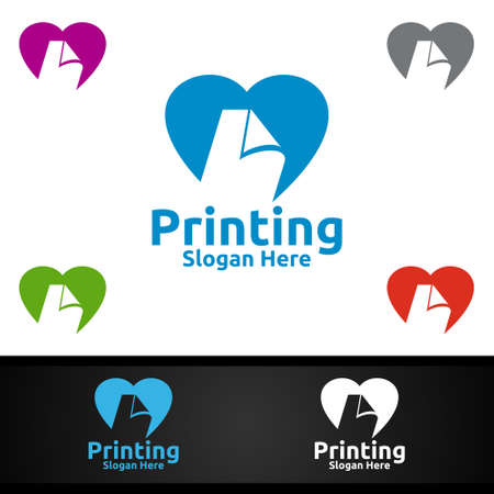 Love Printing Company Vector Logo Design for Media, Retail, Advertising, Newspaper or Book Concept