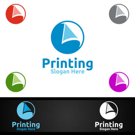 Paper Printing Company Vector Logo Design for Media, Retail, Advertising, Newspaper or Book Concept