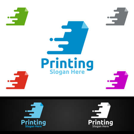 Fast Printing Company Vector Logo Design for Media, Retail, Advertising, Newspaper or Book Concept