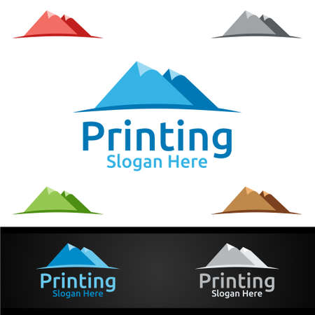 Mountain Printing Company Vector Logo Design for Media, Retail, Advertising, Newspaper or Book Concept Ilustracja