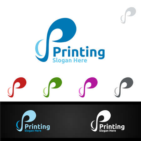 Infinity P Printing Company Vector Logo Design for Media, Retail, Advertising, Newspaper or Book Concept