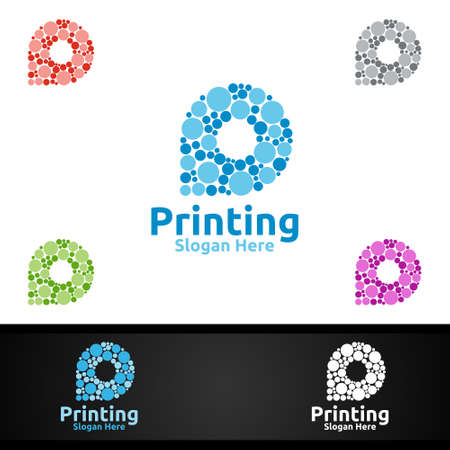 Bubble P Printing Company Vector Logo Design for Media, Retail, Advertising, Newspaper or Book Concept