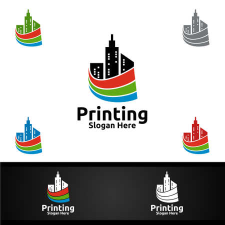 City Printing Company Vector Logo Design for Media, Retail, Advertising, Newspaper or Book Concept