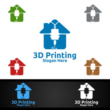 Home 3D Printing Company Vector Logo Design for Media, Retail, Advertising, Newspaper or Book Concept