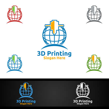 Global 3D Printing Company Vector Logo Design for Media, Retail, Advertising, Newspaper or Book Concept Illustration