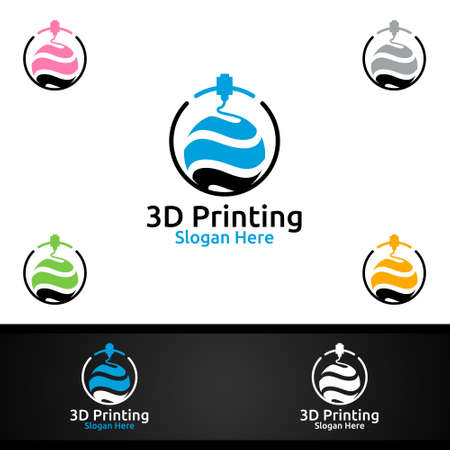 Global 3D Printing Company Vector Logo Design for Media, Retail, Advertising, Newspaper or Book Concept Ilustracja