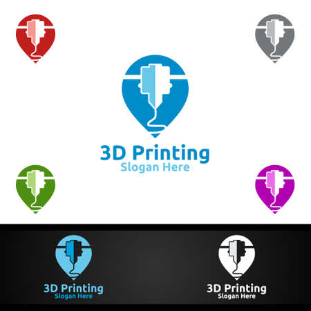 Pin Locator 3D Printing Company Vector Logo Design for Media, Retail, Advertising, Newspaper or Book Concept