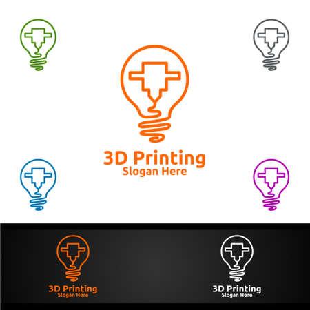 Idea 3D Printing Company Vector Logo Design for Media, Retail, Advertising, Newspaper or Book Concept