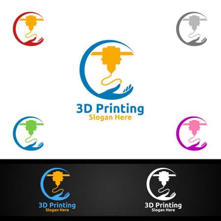 Diy 3D Printing Company Vector Logo Design for Media, Retail, Advertising, Newspaper or Book Concept