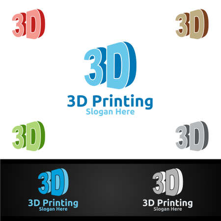 3D Printing Company Vector Logo Design for Media, Retail, Advertising, Newspaper or Book Concept