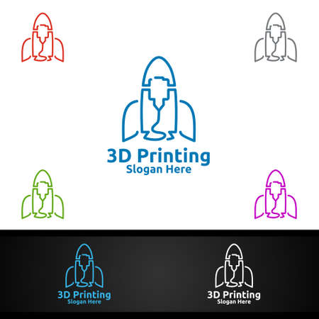 Rocket 3D Printing Company Vector Logo Design for Media, Retail, Advertising, Newspaper or Book Concept