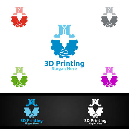 Lab 3D Printing Company Vector Logo Design for Media, Retail, Advertising, Newspaper or Book Concept