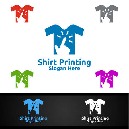 Click T shirt Printing Company Vector Logo Design for Laundry, T shirt shop, Retail, Advertising, or Clothes Community Concept