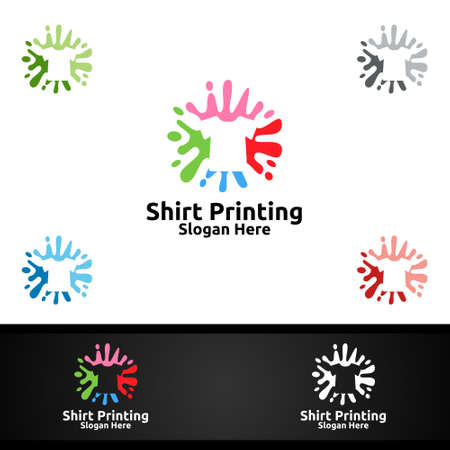 Splash T shirt Printing Company Vector Logo Design for Laundry, T shirt shop, Retail, Advertising, or Clothes Community Concept