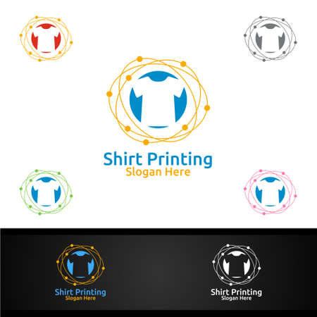 Bubble T shirt Printing Company Vector Logo Design for Laundry, T shirt shop, Retail, Advertising, or Clothes Community Concept