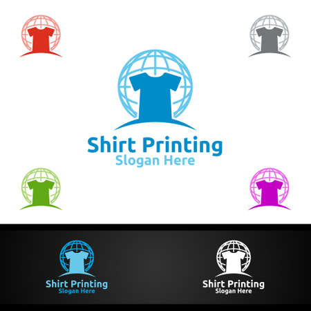 Global T shirt Printing Company Vector Logo Design for Laundry, T shirt shop, Retail, Advertising, or Clothes Community Concept