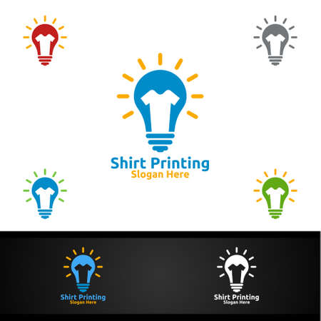 Idea T shirt Printing Company Vector Logo Design for Laundry, T shirt shop, Retail, Advertising, or Clothes Community Concept