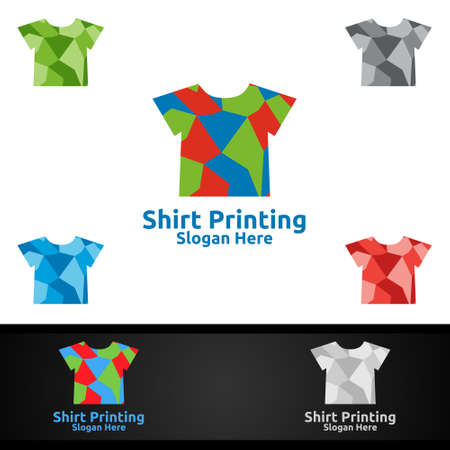 T shirt Printing Company Vector Logo Design for Laundry, T shirt shop, Retail, Advertising, or Clothes Community Concept