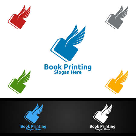 Flying Fast Book Printing Company Vector Logo Design for Book sell, Book store, Media, Retail, Advertising, Newspaper or Paper Agency Concept Ilustracja
