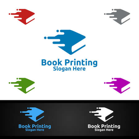Fast Book Printing Company Vector Logo Design for Book sell, Book store, Media, Retail, Advertising, Newspaper or Paper Agency Concept