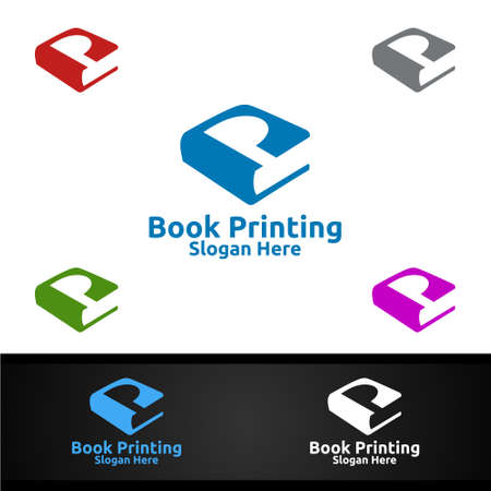 Letter P Book Printing Company Vector Logo Design for Book sell, Book store, Media, Retail, Advertising, Newspaper or Paper Agency Concept Ilustracja