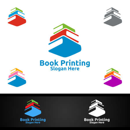 Book Printing Company Vector Logo Design for Book sell, Book store, Media, Retail, Advertising, Newspaper or Paper Agency Concept