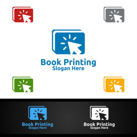 Click Book Printing Company Vector Logo Design for Book sell, Book store, Media, Retail, Advertising, Newspaper or Paper Agency