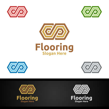Flooring for Parquet Wooden or Vinyl Hardwood Granite Title Vector Design Illusztráció