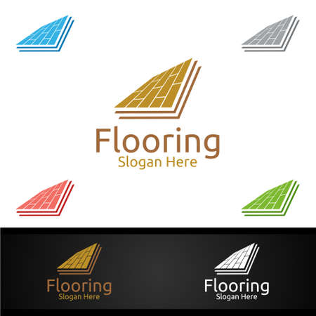 Flooring for Parquet Wooden or Vinyl Hardwood Granite Title Vector Design