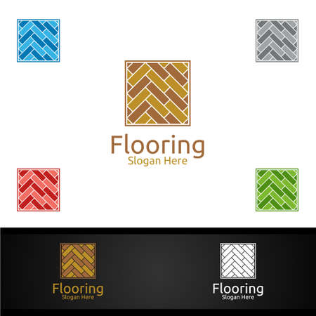 Flooring for Parquet Wooden or Vinyl Hardwood Granite Title Vector Design Vettoriali