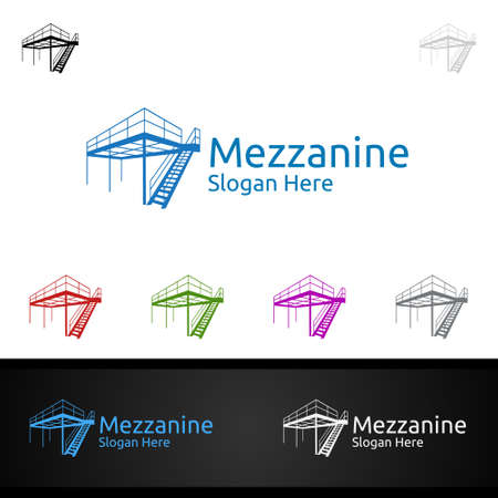 Mezzanine looring Logo for Parquet Wooden or Vinyl Hardwood Granite Title Vector Design Illusztráció