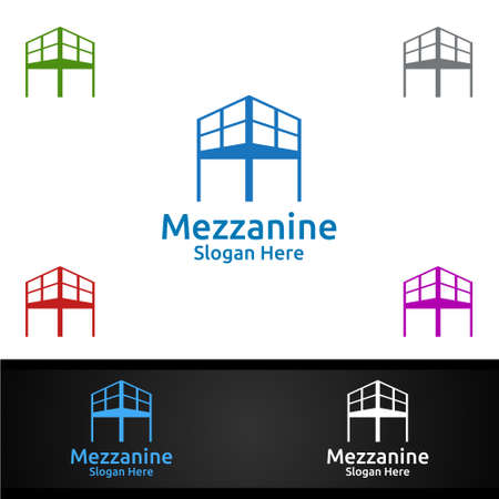 Mezzanine looring Logo for Parquet Wooden or Vinyl Hardwood Granite Title Vector Design