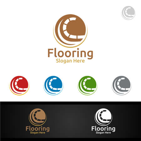 looring Logo for Parquet Wooden or Vinyl Hardwood Granite Title Vector Design Illusztráció