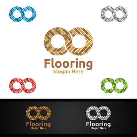 Infinity Flooring Logo for Parquet Wooden or Vinyl Hardwood Granite Title Vector Design Logo