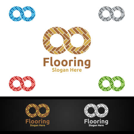 Infinity Flooring Logo for Parquet Wooden or Vinyl Hardwood Granite Title Vector Design