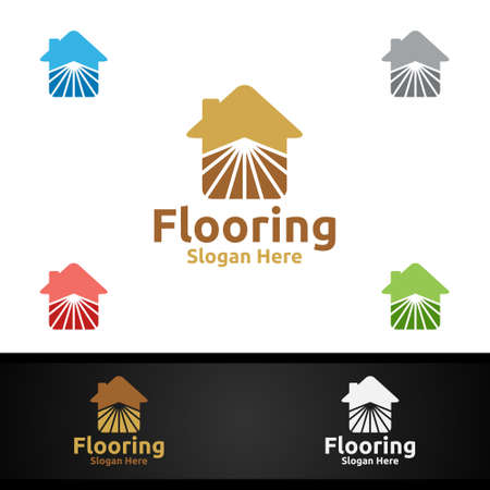 Flooring Logo for Parquet Wooden or Vinyl Hardwood Granite Title Vector Design