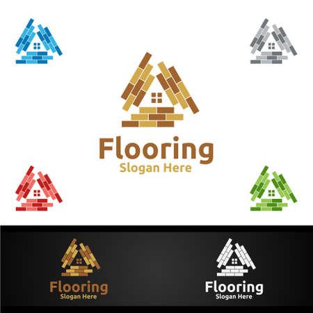 Flooring Logo for Parquet Wooden or Vinyl Hardwood Granite Title Vector Design