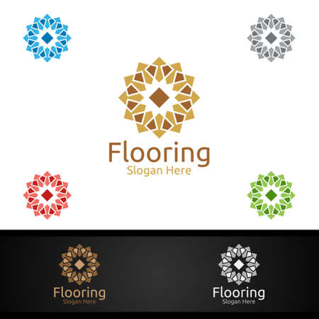 Flooring Logo for Parquet Wooden or Vinyl Hardwood Granite Title Vector Design Logo