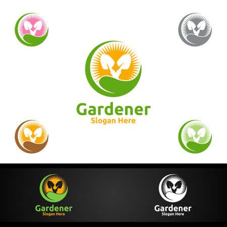 Rise Gardener Logo with Green Garden Environment or Botanical Agriculture Vector Design Illustration
